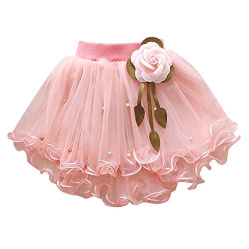 Cowgirl Mädchen Tanz Kostüm - YWLINK MäDchen Zeigen Tanz Party Blume Prinzessin Mesh Karneval Minirock Mit Perlen Elastische Taille Tutu Rock (Rosa,6)