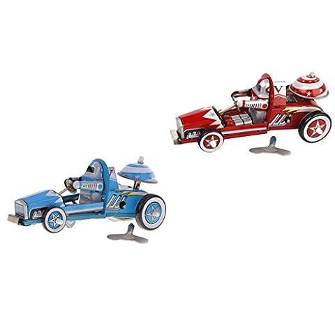 MagiDeal 2 Pièces Jouet Mécanique Ancien Métal Voiture de Course En Etain Jouet Enfant Toy Kids Bleu Rouge
