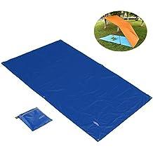 Overmont Estera alfombrilla manta impermeable plegable de toldo tienda campaña camping picnic playa senderismo al aire libre con bolsa azul/verde/naranja
