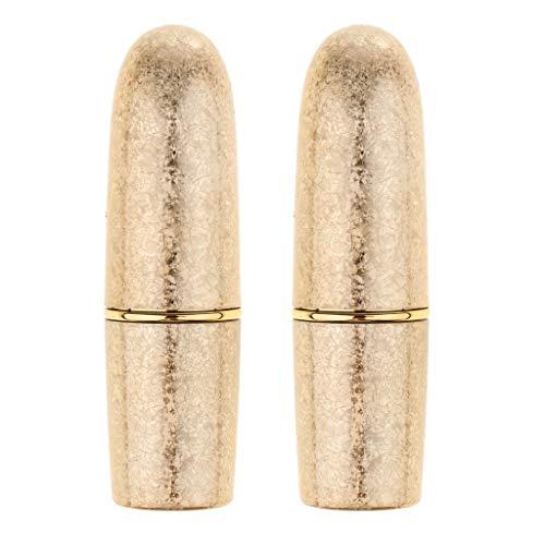 Homyl 2 Stück Leer Lippenpflegestift Rohre Lippenbalsam Behälter Lippenstift-Hülsen - Gold