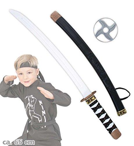 Ninja Schwert Set Kampfstern Samuraischwert Ninjakämpfer Samuraikämpfer Spielschwert Kampfschwert Accessoire zum Kostüm ca. 65 cm (Machen Sie Ein Ninja Kostüm)