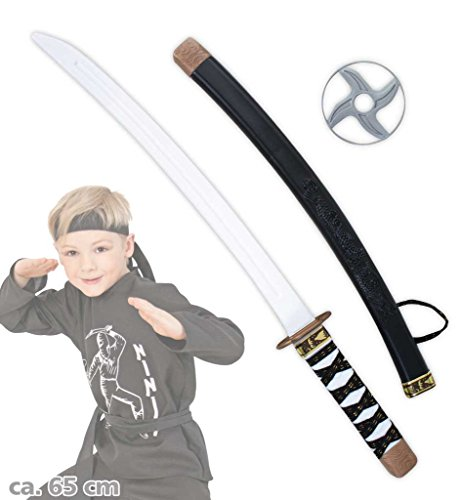 Ninja Schwert Set Kampfstern Samuraischwert Ninjakämpfer Samuraikämpfer Spielschwert Kampfschwert Accessoire zum Kostüm ca. 65 cm (Lord Garmadon Kostüme)