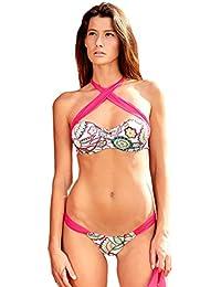 Maillot de Bain String Bikini uni Blanc Rose Fuchsia - St Barthe