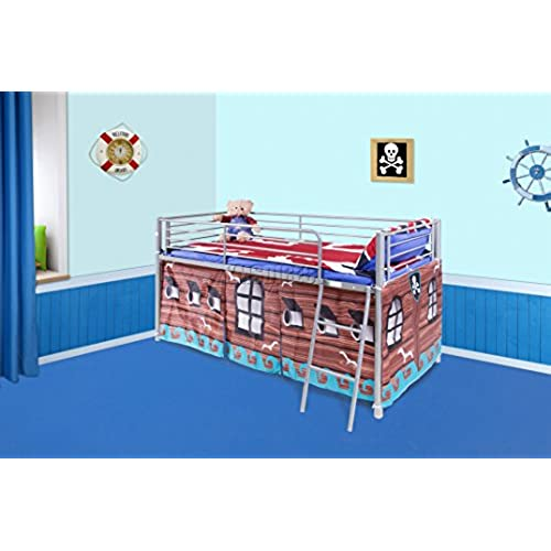 FoxHunter Childrens Metal Mid Sleeper Cabin Bunk Bed Kids Tent Single 3FT Pirate No Mattress New  sc 1 st  Amazon UK & Bed Tents: Amazon.co.uk