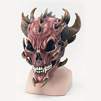 (Kopfbedeckung Satan Skull Devil Red Fire Evil Dämon Halloween Fancy Dress)