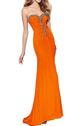 Ivydressing Damen Sexuell Etui-Linie Herform Promkleid Chiffon Lang Festkleid Abendkleider Orange