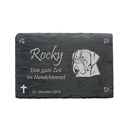 Gedenktafel « BOXER » aus Schiefer - ca.22 x 16 cm - Wetterfeste Gravur -