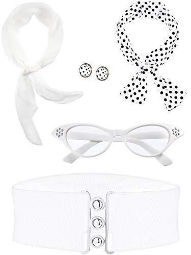 Zhanmai 50er Jahre Kostüm Schal Polka Dot Stirnband Ohrring Katzen Augen Brille Bund (Farbe Satz 4) (Polka Dot Kostüm)