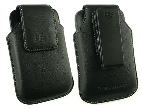 Coque Pour Blackberry 9720 - Geniune Blackberry Noir Koskin Étui Pivotant En