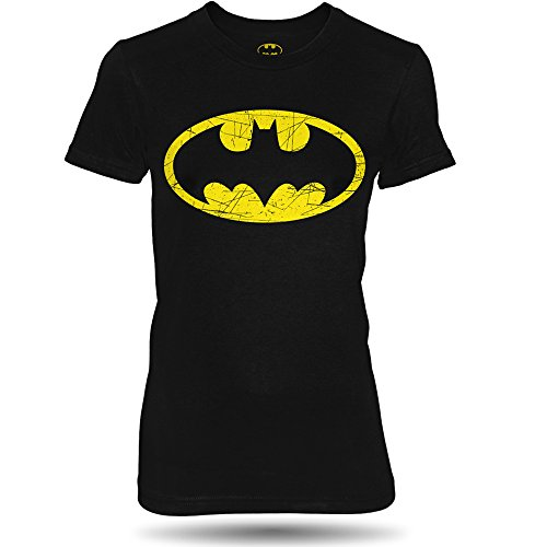 DC Comics Batman distressed Damen T-shirt, 100% Baumwolle Schwarz