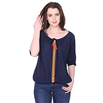 AANIA Women's Embroidered Top (Blue, Small)
