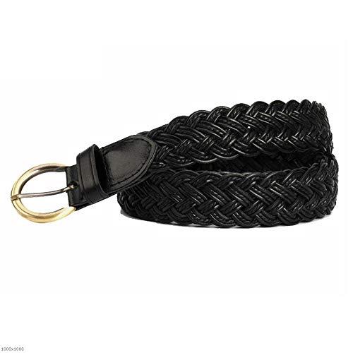 Yzibei selvaggio cintura in tessuto selvaggio da donna casual e ampia cintura decorativa con fibbia ad ardiglione (colore : nero)