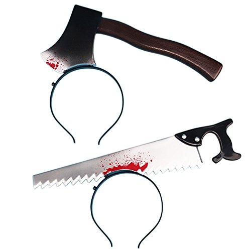 Halloween Haarband, Funpa 2Stk Halloween Stirnband Messer Durch Kopf Spuk Kostüm Stirnband