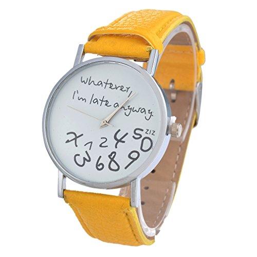 souarts-femme-montre-bracelet-en-pu-cuir-whatever-i-am-late-anyway-jaune