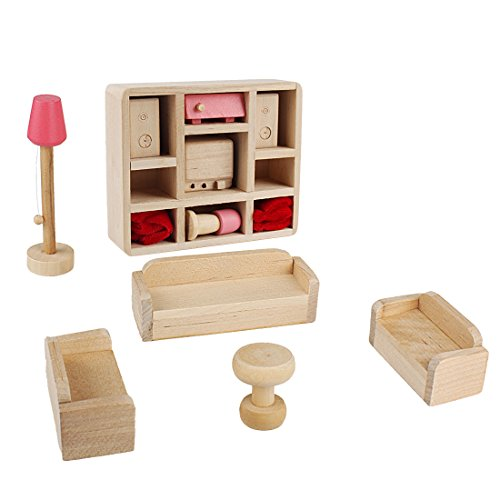 Andux Zone Dollhouse Miniature Furniture per cameretta Mobili in legno rosa MNJJ-02 soggiorno