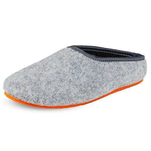 PantOUF Cambrai Pantofola di Feltro-Grigio Chiaro/Arancione-per Donne/Uomini-45