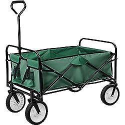 TecTake Chariot de transport à main Remorque de jardin pliable | 95 x 53,5 x 117 (LxBxH) | -diverses couleurs au choix- (Vert | no. 402596)