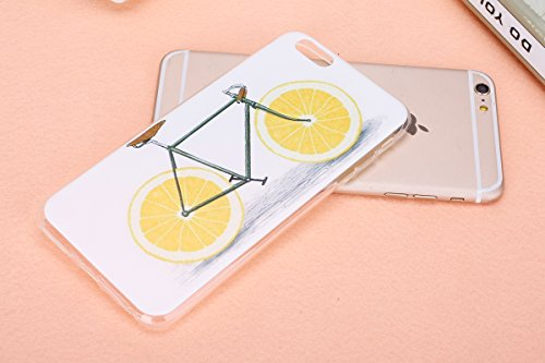 Coque pour iPhone 6 Plus, Etui pour iPhone 6S Plus, ISAKEN Peinture Style Transparente Ultra Mince Souple TPU Silicone Etui Housse de Protection Coque Étui Case Cover pour Apple iPhone 6 Plus / iPhone Vélo Citrons