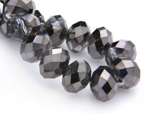 Creative-Beads Glasperlen, Radl 9x12mm ca.22St. black diamond,zum selber machen von Ohrringe, Armbänder, Kette, basteln, gestalten, dekorieren