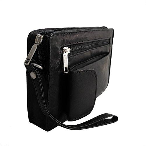 Bag Street Leder - exquisite Leder Herren Handgelenktasche , Herrentasche , Handtasche , Handgepäck-Tasche ( Braun - Doppelkammer ) - präsentiert von ZMOKA® Schwarz Einzelkammer