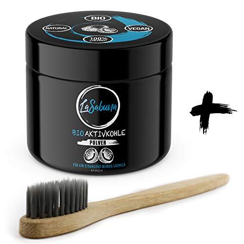Bio-Aktivkohle Pulver zur natürlichen Zahnaufhellung + Bambus-Zahnbürste | 100% Kokosnuss | vegan | Zahnbleaching ohne schädliche Zusätze | fluoridfrei - Bambus-pulver