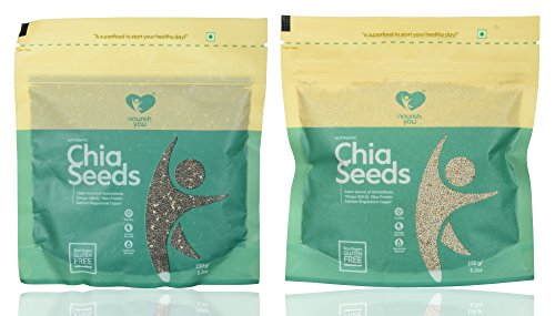 NOURISH YOU Authentic White & Black Chia Seeds, 300 grams (Combo of 2)  available at amazon for Rs.440