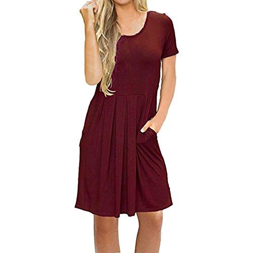 ITISME Damen Rundhals Kleid Beiläufiges Langarm Minikleid T-Shirt Kleid Mit Gürtel