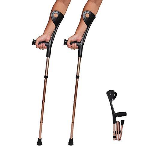 Crutch Folding Elbow, Aluminiumlegierung, Vier Falten, Ellbogen, Unterarm Crutch Ellbogen-Krücken Faltbare ultraleichte Aluminium-Unterstützung Höhe verstellbar (100-110) cm Mit bequemem Griff,2pcs - Faltbare Krücken