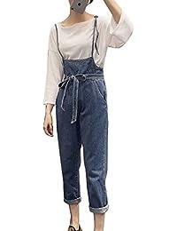 Guiran Donna Casual Lunga Retro Sciolto Pantaloni Baggy Boyfriend Jeans  Denim Tuta Salopette Blu XL dff845cc56c