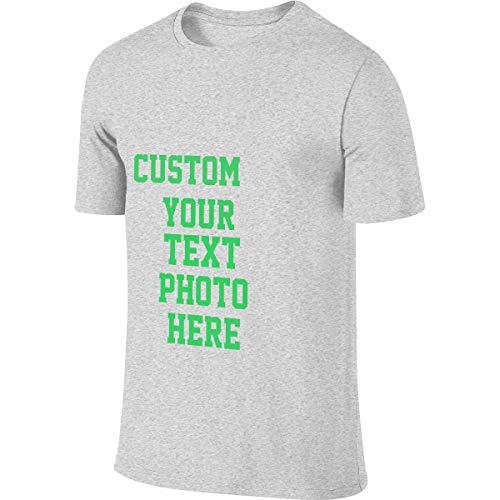 100% Baumwolle Herren T-Shirt Sommer Kurzarm T-Shirt - Anpassbares doppelseitiges T-Shirt(Gray 5XL) -