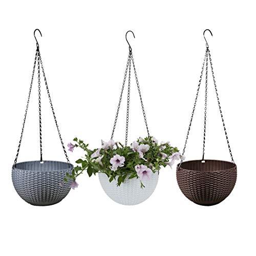 Batop 3 Stück Blumenampel Hängen Balkon Blumenampel Rattan Blumentopf Hängetopf für Garten, Balkon, Fensterbank (Weiß + Grau + Kaffee)