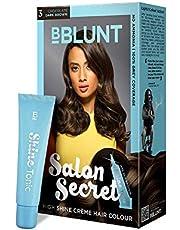 BBLUNT Salon Secret High Shine Creme Hair Colour, Chocolate Dark Brown 3, 100g with Shine Tonic, 8ml