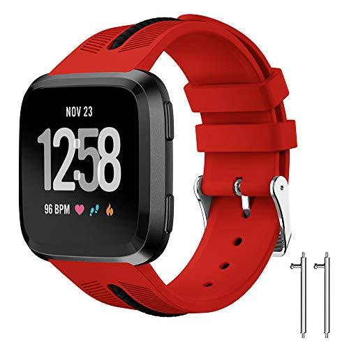 Preisvergleich Produktbild AmaSells für Fitbit Versa Lite Uhr Intelligent Uhr Smart Watch Mode Ersatz Sport Silikon Uhrenarmband Armband (Rot)