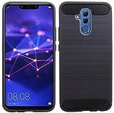 cofi1453 Silikon Hülle Tasche Case Zubehör kompatibel mit Huawei Mate 20 Lite Gummi Bumper Schale Schutzhülle in Carbon-Schwa