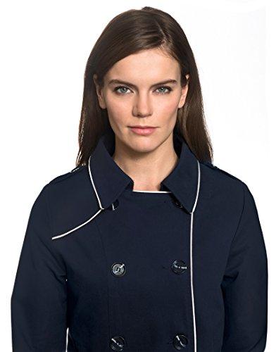 Vincenzo Boretti Damen Trenchcoat 100% Baumwolle Mantel Übergangs-Jacke modern elegant Übergang Style für Frühling Herbst Sommer sowie Business und Freizeit dunkelblau XS - 4