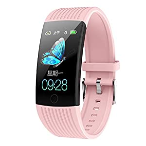 Bluetooth Smart Watch mit Kamera Q18 Fitness Tracker Blutdruck Pulsmesser Smart Watch Schrittzaehler Armbanduhr für Damen Herren Wasserdicht Schlafmonitor Sport Uhr für Android iOS (Rosa)