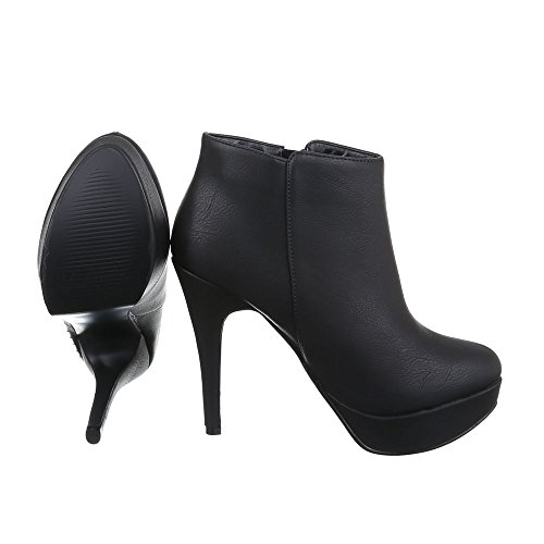 Damen Schuhe, K772, STIEFELETTEN HIGH HEELS ANKLE BOOTS Schwarz