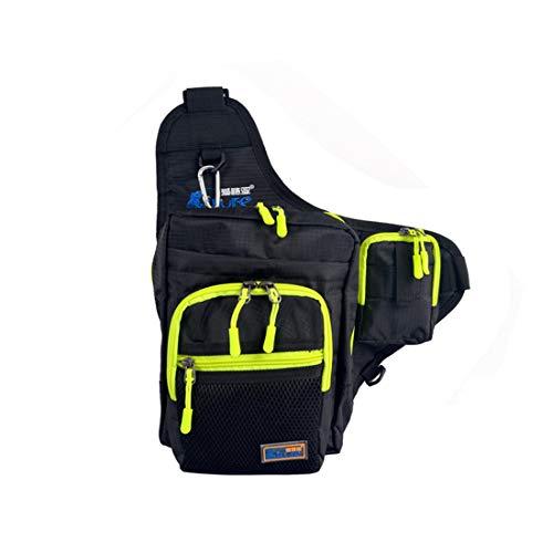 Fishing Sling Bags - Fly Fishing Gürteltasche Fishing Lure Bag Wasserdichte 600D Nylon Kleine Brust Pack Umhängetasche für Outdoor Angelgerät,Black