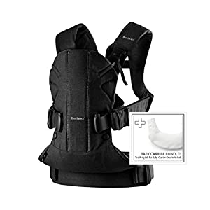 BABYBJÖRN Baby Carrier One, Cotton Mix, Black with Teething Bib for BC One, 1.03 kg   2