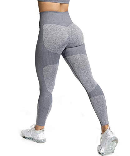 ShinyStar Damen Sport Leggings Lange Blickdicht Kompressions Yoga Fitnesshose Sporthose mit Hohe Taille für Workout Gym Jogging Grau M