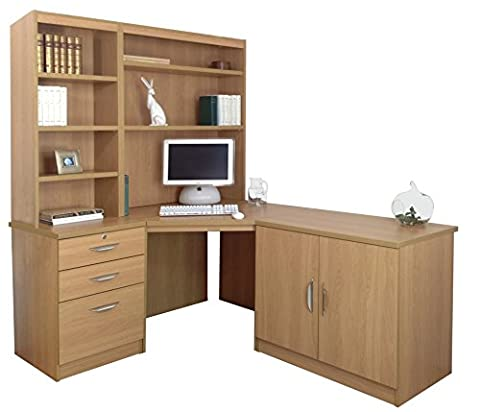 Home Office Furniture UK Wood Grain Profile Computer Desk/Hutch/Bookcase Set, Wood, Classic Oak, 6-Piece