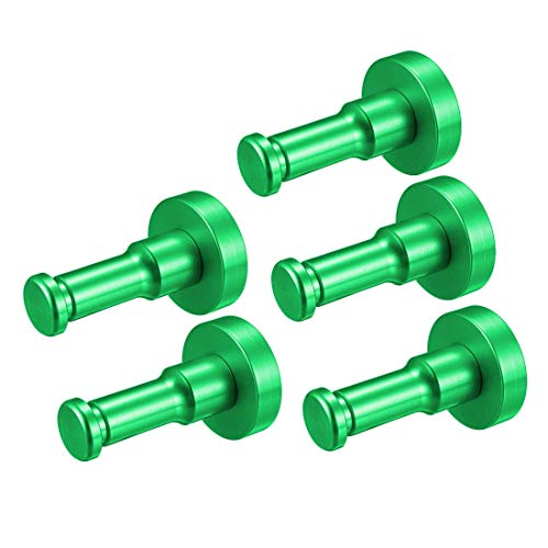 ZCHXD 5Pcs Wall Mounted Hook Robe Hooks Single Towel Hanger With Screws, Aluminum alloy, (1.69Inch, Green)