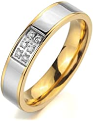 MunkiMix Ancho 5mm Acero Inoxidable Anillo Ring Banda Venda Cz Cubic Zirconia Circonita Plata Oro Dorado Amor Love Pareja Alianzas Boda Compromiso Promesa Mujer