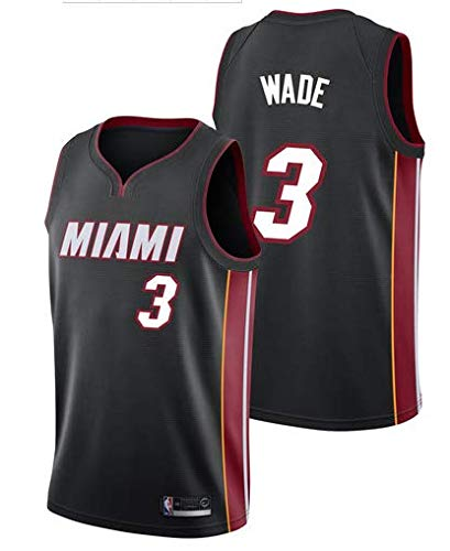 trikotjerseyNBA Dwayne Wade #3 Miami Heat, Fan-Trikot Jersey Stickerei Anzug Sommer Basketball Anzug Hemd, Trägershirt Fitness (L, Schwarz)