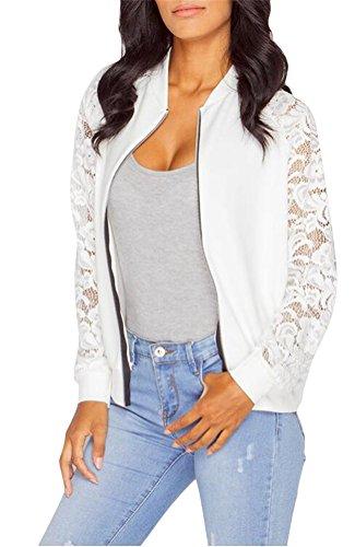 Ghope Femme À manches longues en dentelle Blazer Veste Casual de Outwear des femmes Blanc