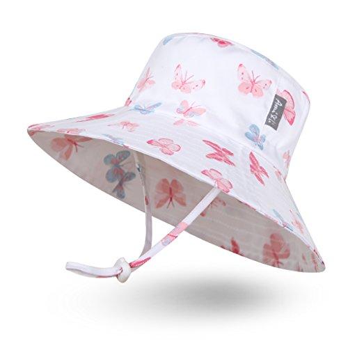 Fashion Tote (Ami & Li tots Mädchen Sonnenhut Eimer Einstellbar für Baby Mädchen Jungen Säugling Kind Kleinkind Hut Sonnenschutz UPF 50 Unisex - L: Pastellschmetterlinge)