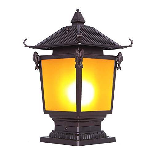Wapipey IP54 Étanche En Aluminium Extérieur Poteau Poteau Lanterne E27 Antique Abat-Jour En Métal Étanche À La Pluie Extérieure Lampe De Table Colonne Lampe Jardin Patio Pelouse Pillar Lampe