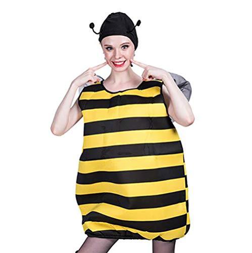 iene Cosplay Kostüm Frau Karneval Halloween Weihnachten Gelb gestreift Jumpsuit,Yellow ()