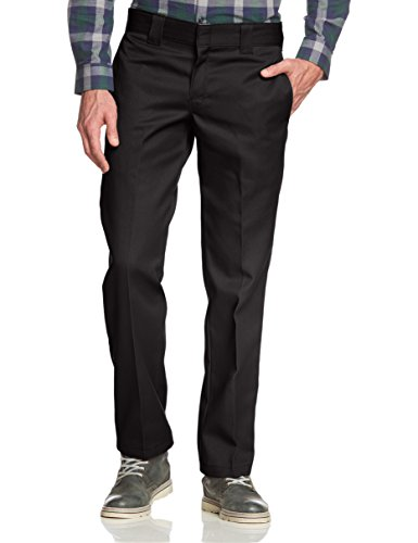 Dickies Slim Fit Straight - Pantalones para hombre, Negro (Black), W34/L32