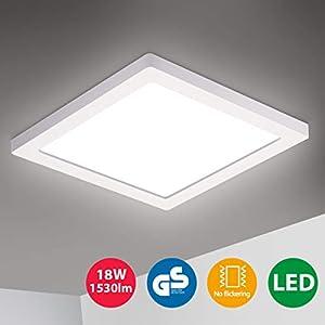 Oeegoo LED Deckenleuchte, 18W 1530LM Led Deckenlampe, Flimmerfreie Led Lampe Ultraslim 1.3cm, Wohnzimmerlampe Kinderzimmerlampe Schlafzimmerlampe Küchenlampe Flur Lampe Neutralweiß 4000K